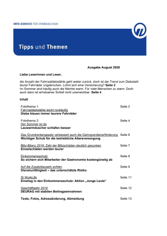Tipps und Themen 8-2020