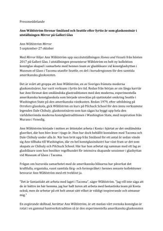 Ann Wåhlström förenar Småland och Seattle efter fyrtio år som glaskonstnär i utställningen Mirror på Galleri Glas