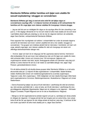 Stenbecks Stiftelse stöttar hemlösa och tjejer som utsätts för sexuell exploatering i skuggan av coronakrisen