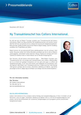 Ny transaktionschef hos Colliers International