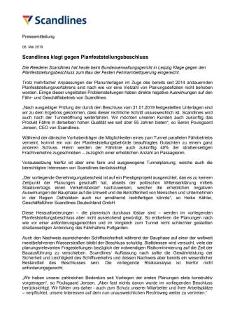 Scandlines klagt gegen Planfeststellungsbeschluss