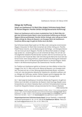 Klänge der Hoffnung.  Ostern am Goetheanum: Sir Mark Elder dirigiert Sinfonieorchester Basel für Richard Wagners ‹Parsifal› (dritter Aufzug) (konzertante Aufführung)