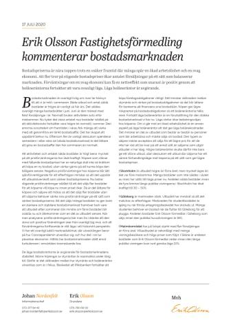 Erik Olsson Fastighetsförmedling kommenterar bostadsmarknaden 17 juli 2020