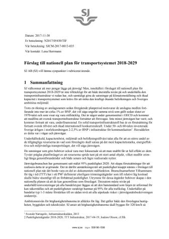 SJs remissvar - Förslag till nationell plan för transportsystemet 2018-2029