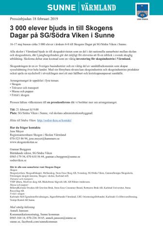 3 000 elever bjuds in till Skogens  Dagar på SG/Södra Viken i Sunne