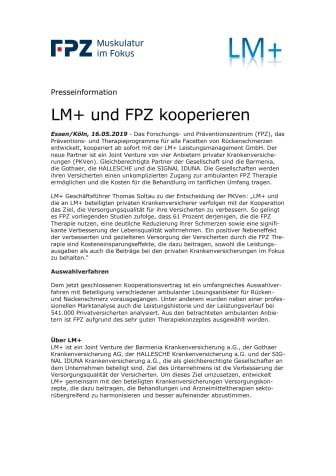LM+ und FPZ kooperieren