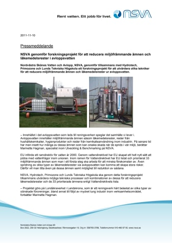 NSVA genomför forskningsprojekt för att reducera miljöfrämmande ämnen och läkemedelsrester i avloppsvatten