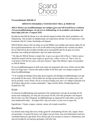 Höstens smakrika nyheter från Mill & Mortar