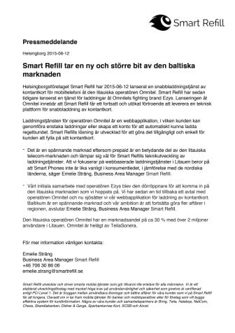 Smart Refill tar en ny och större bit av den baltiska marknaden