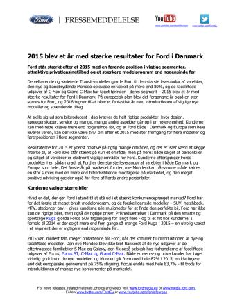 2015 blev et år med stærke resultater for Ford i Danmark