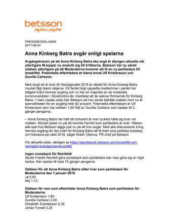 Anna Kinberg Batra avgår enligt spelarna