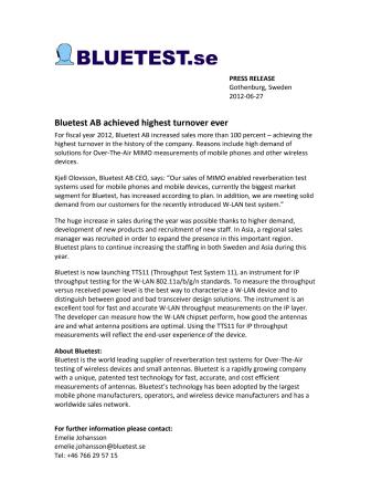 Bluetest AB achieved highest turnover ever