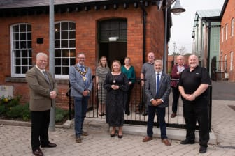 THI Board members and Council staff pictured alongside Mayor of MEA Cllr William McCaughey and Mukesh Sharma MBE DL, HLF NI Chair