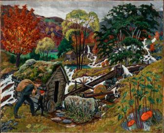 Nikolai Astrup; Kvennagongsvatten / Milling Weather, olje på plate, ca. 1902–1905