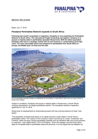 Panalpina Perishables Network expands to South Africa