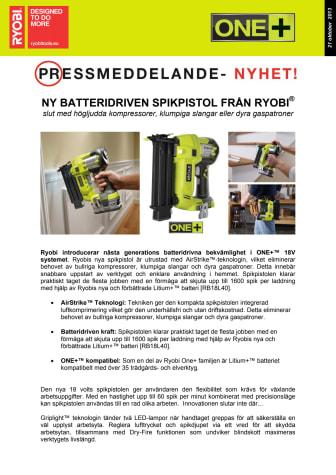 NY BATTERIDRIVEN SPIKPISTOL FRÅN RYOBI® - Slut med högljudda kompressorer, klumpiga slangar eller dyra gaspatroner