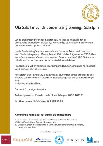 Ola Salo får Lunds studentsångares solistpris