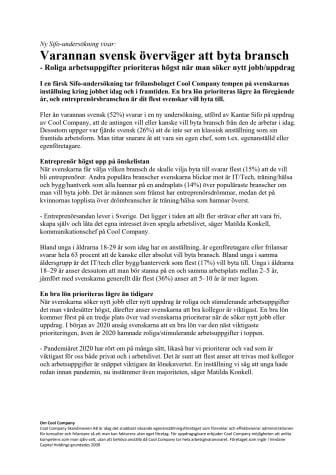 Ny Sifo-undersökning visar:  Varannan svensk överväger att byta bransch