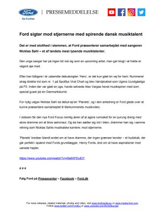 Ford sigter mod stjernerne med spirende dansk musiktalent