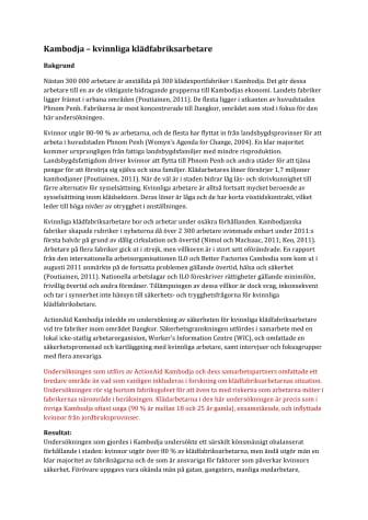 Undersökning om kvinnliga klädfabriksarbetares situation i Kambodja