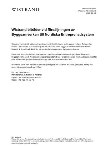 Wistrand biträder vid försäljningen av Byggsamverkan till Nordiska Entreprenadsystem