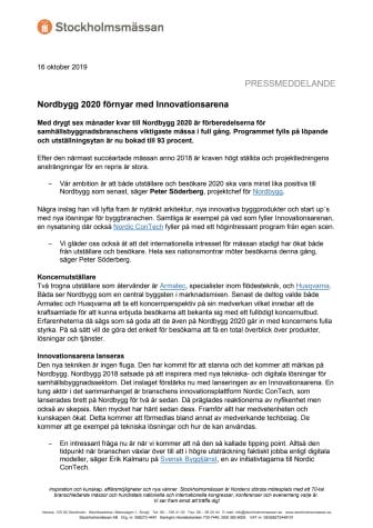 Nordbygg 2020 förnyar med Innovationsarena