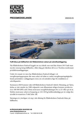 Fullt fokus på hållbarhet när Klädesholmen satsar på solcellsanläggning