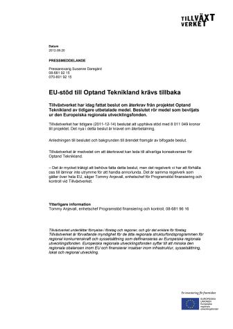 EU-stöd till Optand Teknikland krävs tillbaka