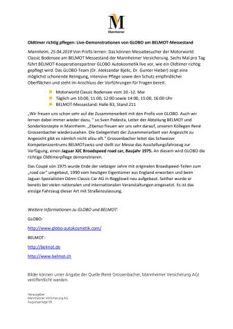 Oldtimer richtig pflegen: Live-Demonstrationen von GLOBO am BELMOT-Messestand