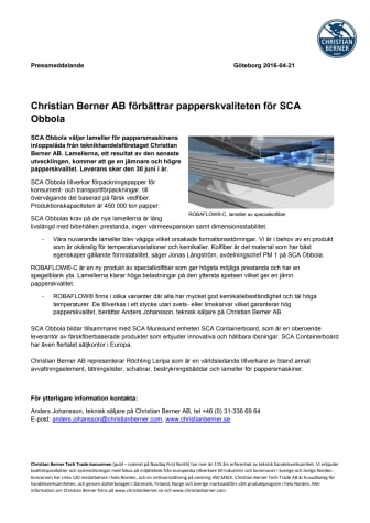 Christian Berner AB förbättrar papperskvaliteten för SCA Obbola