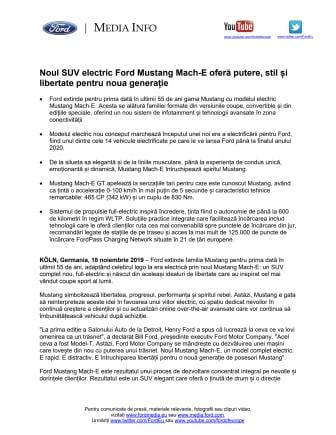 Noul SUV electric Ford Mustang Mach-E oferă putere, stil și libertate pentru noua generație