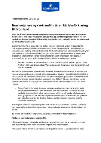 Norrmejeriers nya reklamfilm är en kärleksförklaring till Norrland