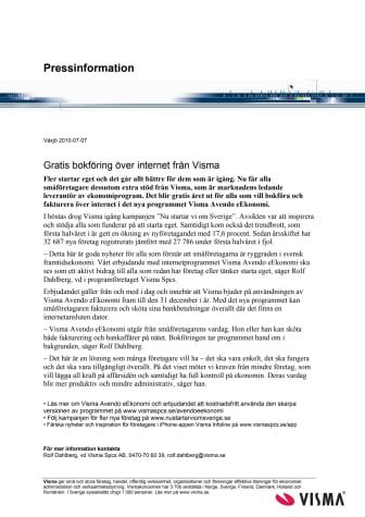 Gratis bokföring över internet från Visma