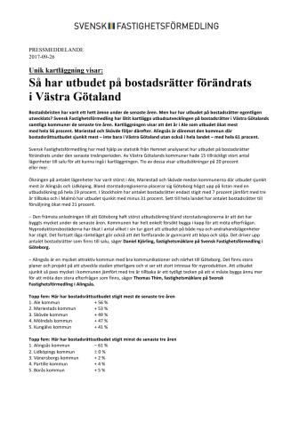 Unik kartläggning visar: Så har utbudet på bostadsrätter förändrats  i Västra Götaland
