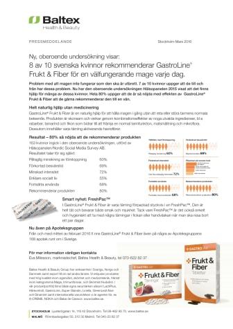 8 av 10 svenska kvinnor rekommenderar GastroLine® Frukt & Fiber för en välfungerande mage varje dag