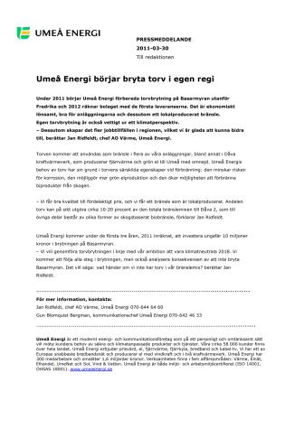 Umeå Energi börjar bryta torv i egen regi