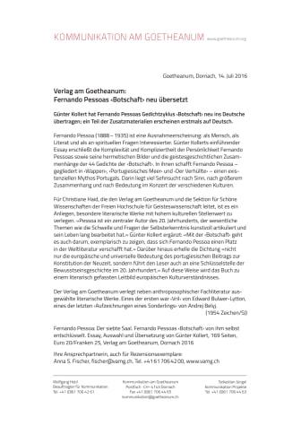 Verlag am Goetheanum: Fernando Pessoas ‹Botschaft› neu übersetzt