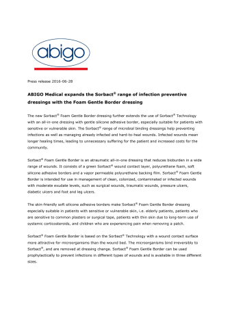 ABIGO Medical expands the Sorbact® range of infection preventive dressings with the Foam Gentle Border dressing
