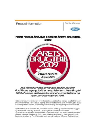 FORD FOCUS ÅRGANG 2005 ER ÅRETS BRUGTBIL 2009