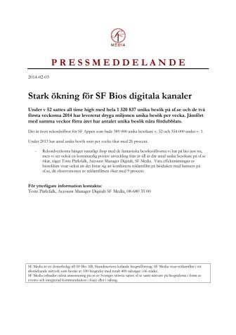 Stark ökning för SF Bios digitala kanaler