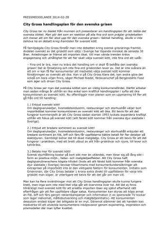 City Gross handlingsplan för den svenska grisen