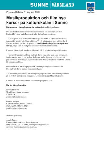 Musikproduktion och film nya kurser på kulturskolan i Sunne