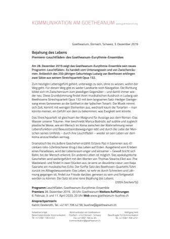 Bejahung des Lebens. Premiere ‹Leuchtfäden› des Goetheanum-Eurythmie-Ensembles