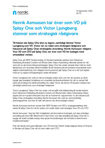 Henrik Asmussen tar över som VD på Splay One och Victor Ljungberg stannar som strategisk rådgivare