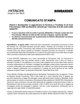 Hitachi e Bombardier si aggiudicano la fornitura a Trenitalia di 23 treni Frecciarossa 1000 ad altissima velocità per l'esercizio di ILSA sulle tratte spagnole