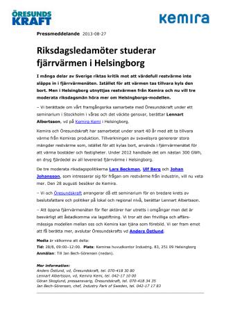 Riksdagsledamöter studerar fjärrvärmen i Helsingborg