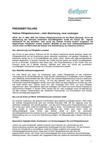 Gothaer-Fähigkeitenschutz – mehr Absicherung, neue Leistungen