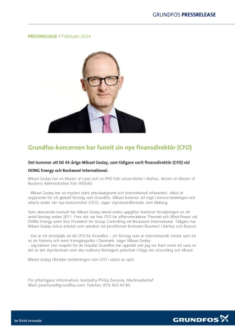 Grundfos-koncernen har funnit sin nye finansdirektör (CFO)