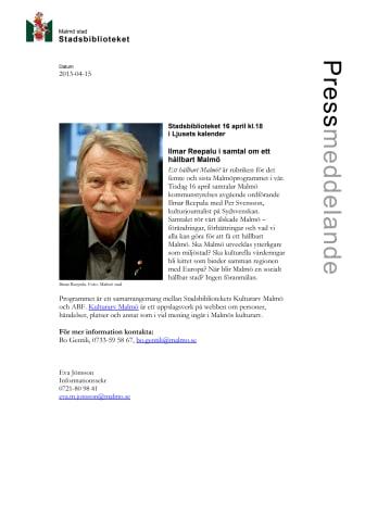 Stadsbiblioteket: Ilmar Reepalu i samtal om ett hållbart Malmö