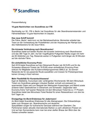 10 gute Nachrichten von Scandlines zur ITB